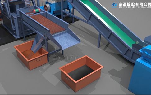 3D running video shows the process of copper cable wire recycling machine
